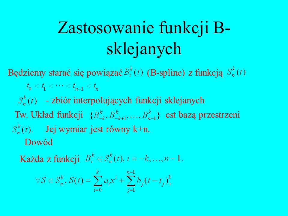 Zastosowanie funkcji B- sklejanych Będziemy starać się powiązać(B-spline) z funkcją - zbiór interpolujących funkcji sklejanych Tw. Układ funkcjiest ba