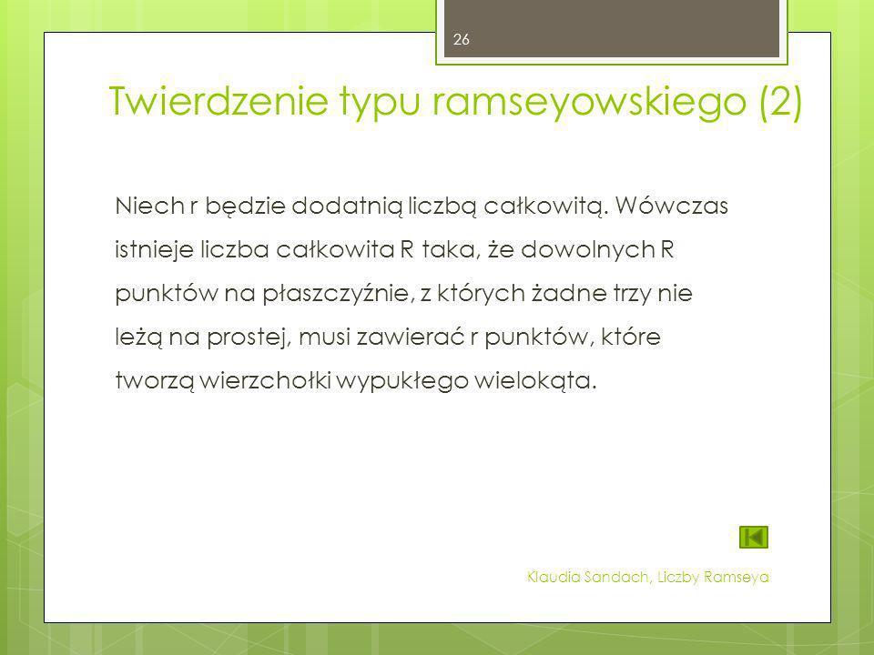 Twierdzenie typu ramseyowskiego (2) Niech r będzie dodatnią liczbą całkowitą. Wówczas istnieje liczba całkowita R taka, że dowolnych R punktów na płas