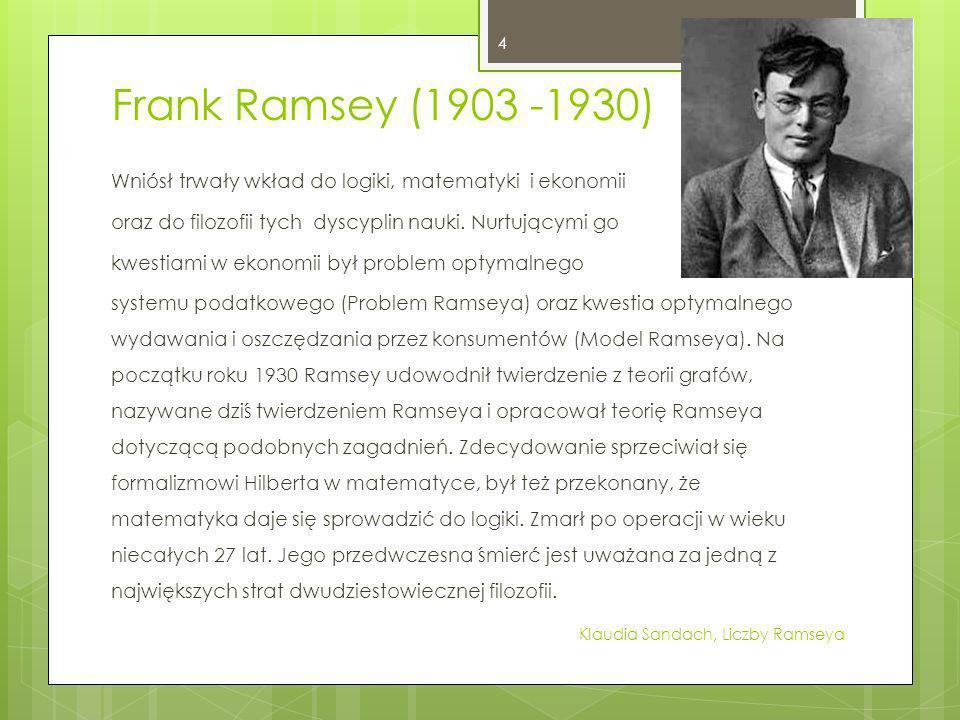Frank Ramsey (1903 -1930) Wniósł trwały wkład do logiki, matematyki i ekonomii oraz do filozofii tych dyscyplin nauki. Nurtującymi go kwestiami w ekon