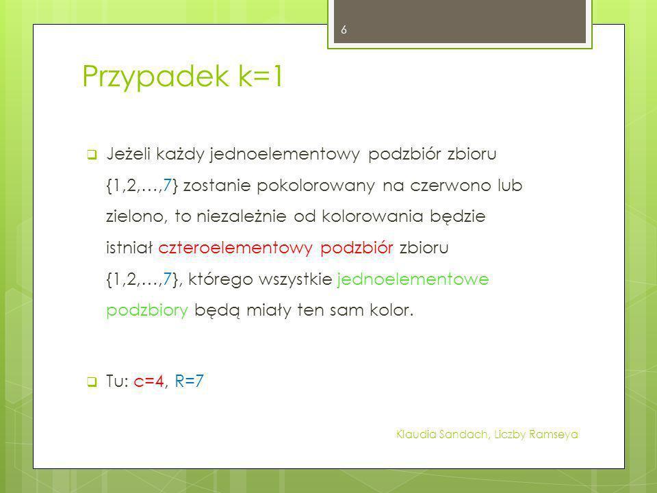 Przypadek k=1 Jeżeli każdy jednoelementowy podzbiór zbioru {1,2,…,7} zostanie pokolorowany na czerwono lub zielono, to niezależnie od kolorowania będz