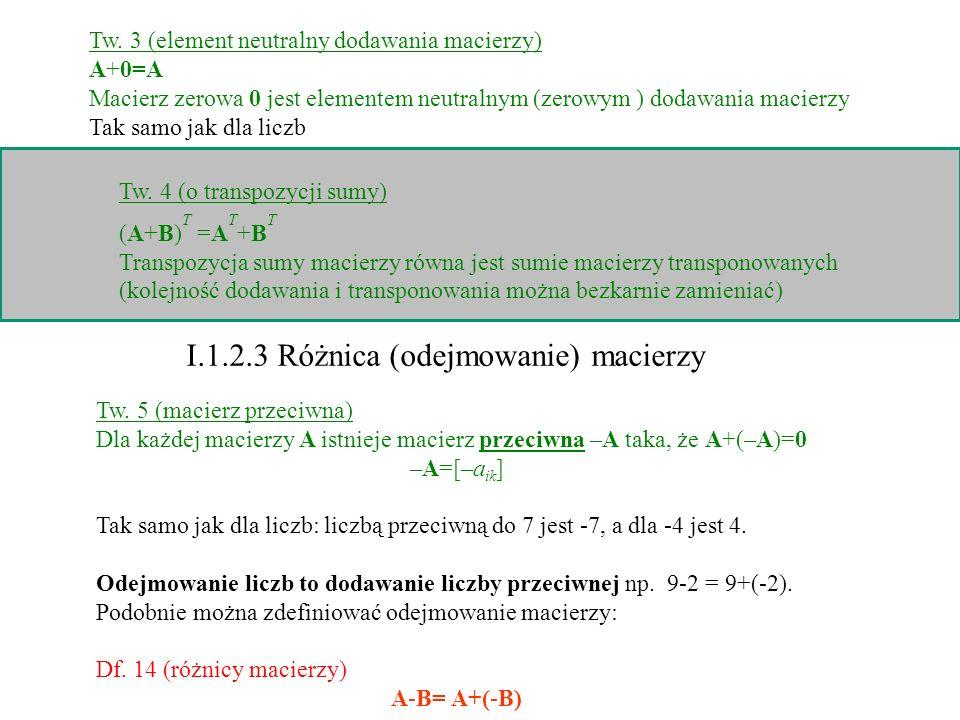 Tw. 5 (macierz przeciwna) Dla każdej macierzy A istnieje macierz przeciwna –A taka, że A+(–A)=0 –A=[–a ik ] Tak samo jak dla liczb: liczbą przeciwną d