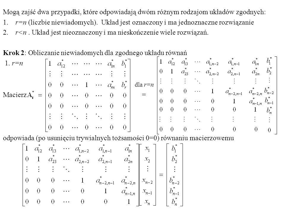 Mogą zajść dwa przypadki, które odpowiadają dwóm różnym rodzajom układów zgodnych: 1. r=n (liczbie niewiadomych). Układ jest oznaczony i ma jednoznacz