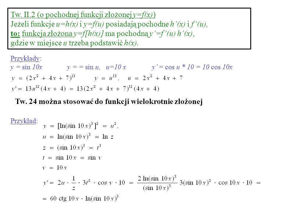 Tw. II.2 (o pochodnej funkcji złożonej y=f(x)) Jeżeli funkcje u=h(x) i y=f(u) posiadają pochodne h(x) i f(u), to: funkcja złożona y=f[h(x)] ma pochodn