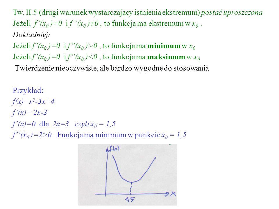 Tw. II.5 (drugi warunek wystarczający istnienia ekstremum) postać uproszczona Jeżeli f(x 0 )=0 i f(x 0 )0, to funkcja ma ekstremum w x 0. Dokładniej: