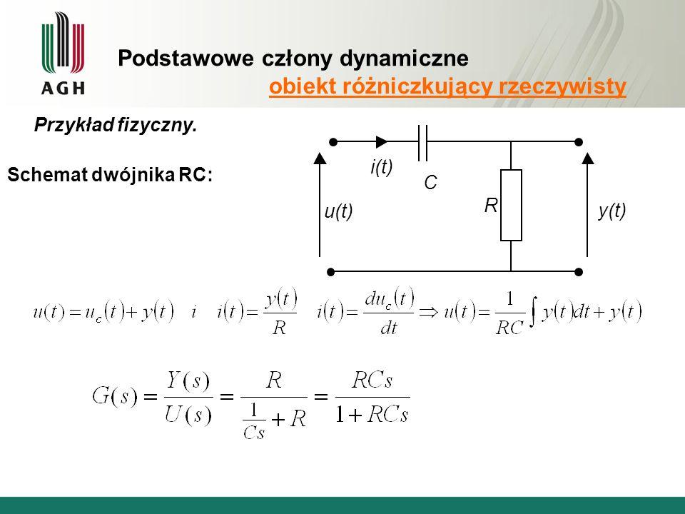 Podstawowe człony dynamiczne obiekt różniczkujący rzeczywisty Przykład fizyczny.