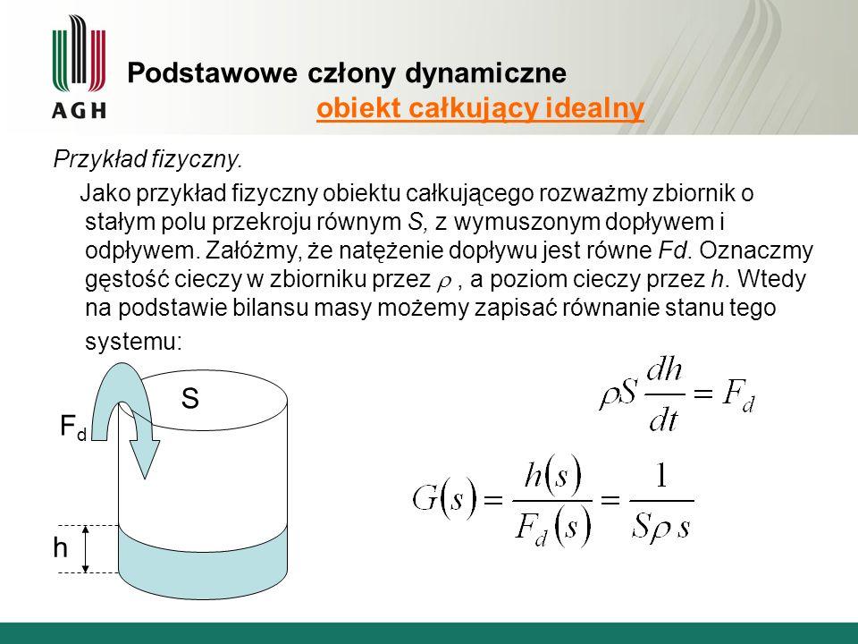 Podstawowe człony dynamiczne obiekt całkujący idealny Przykład fizyczny.