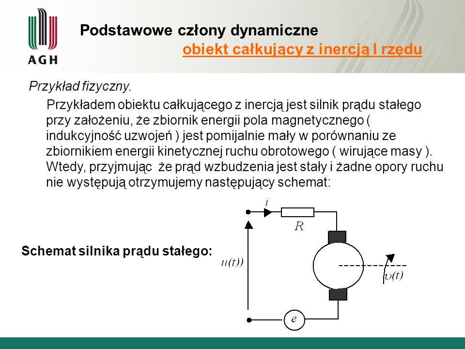 Podstawowe człony dynamiczne obiekt całkujący z inercją I rzędu Przykład fizyczny.