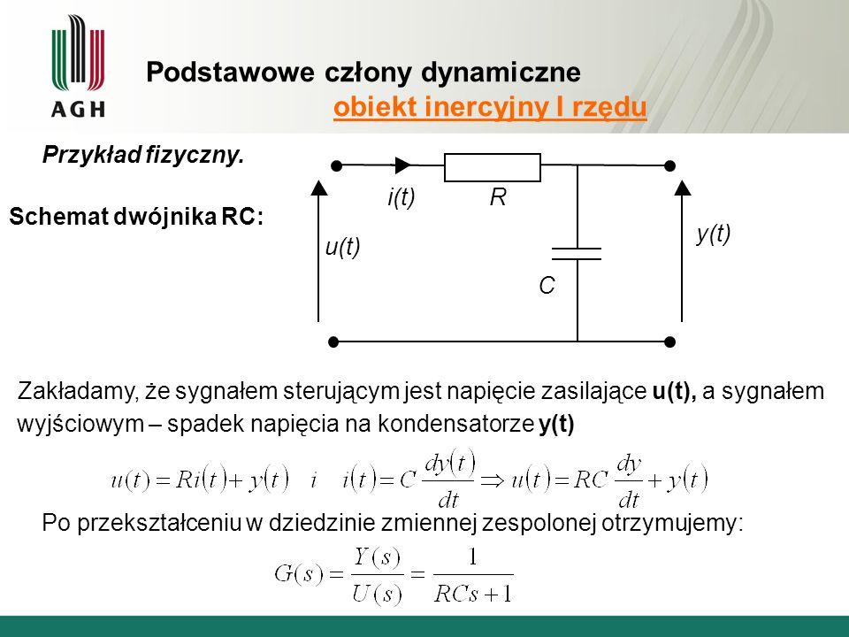 Podstawowe człony dynamiczne obiekt inercyjny I rzędu Zakładamy, że sygnałem sterującym jest napięcie zasilające u(t), a sygnałem wyjściowym – spadek napięcia na kondensatorze y(t) Przykład fizyczny.