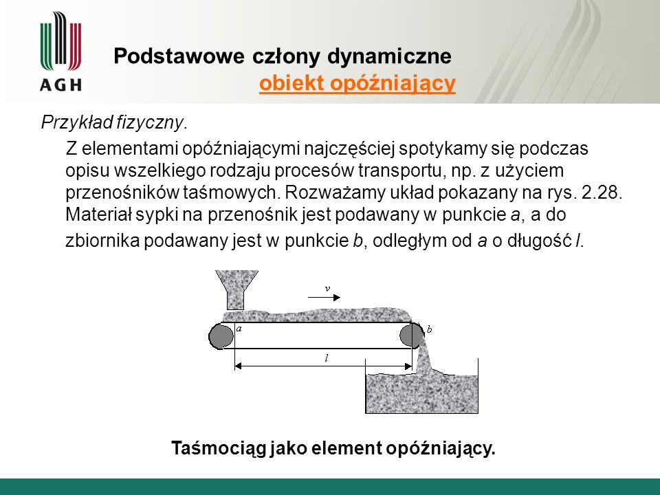 Podstawowe człony dynamiczne obiekt opóźniający Przykład fizyczny.
