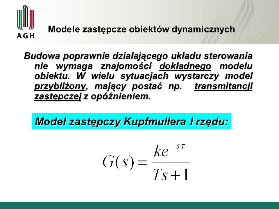 Modele zastępcze obiektów dynamicznych Budowa poprawnie działającego układu sterowania nie wymaga znajomości dokładnego modelu obiektu.