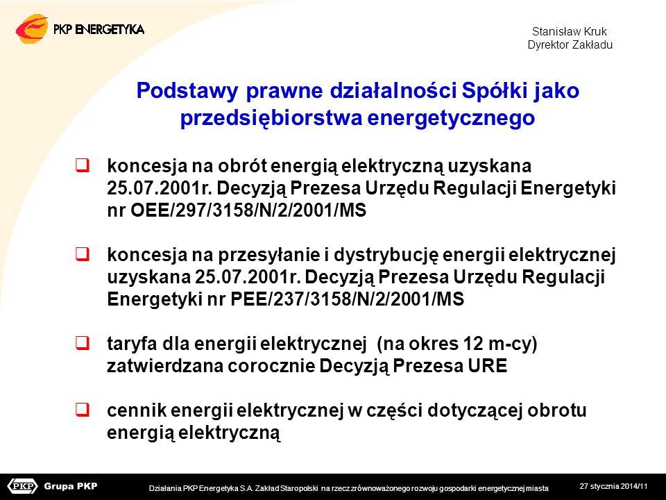 27 stycznia 2014/11 Podstawy prawne działalności Spółki jako przedsiębiorstwa energetycznego koncesja na obrót energią elektryczną uzyskana 25.07.2001