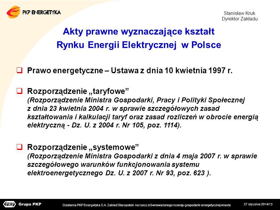 27 stycznia 2014/13 Akty prawne wyznaczające kształt Rynku Energii Elektrycznej w Polsce Prawo energetyczne – Ustawa z dnia 10 kwietnia 1997 r. Rozpor