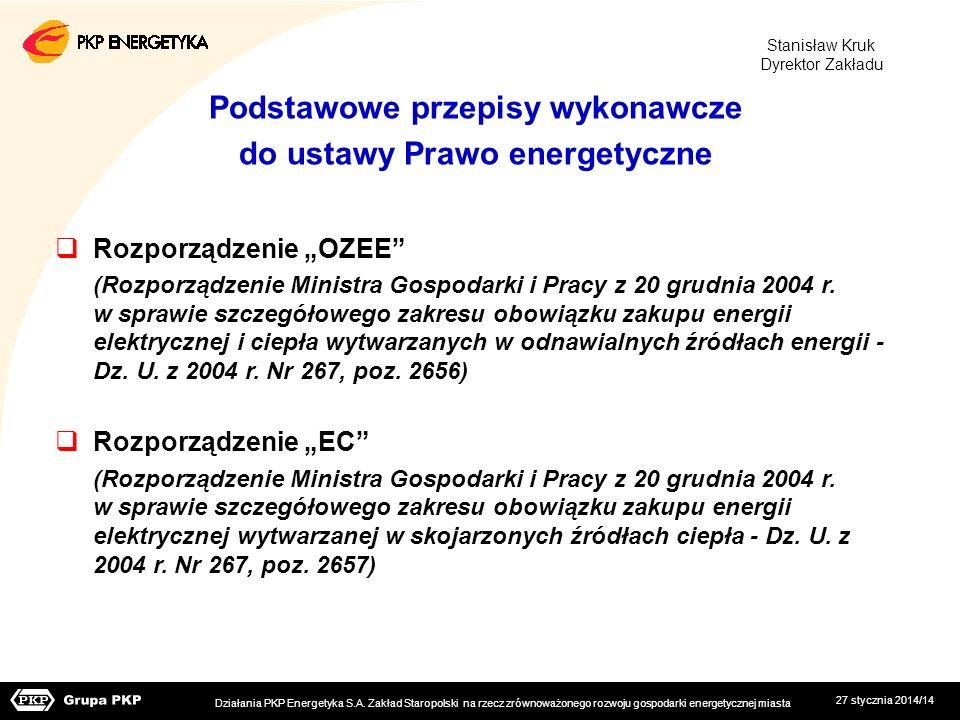 27 stycznia 2014/14 Podstawowe przepisy wykonawcze do ustawy Prawo energetyczne Rozporządzenie OZEE (Rozporządzenie Ministra Gospodarki i Pracy z 20 g