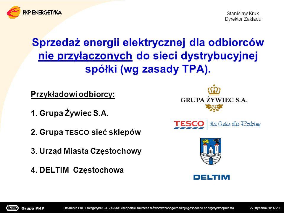 27 stycznia 2014/ 20 Sprzedaż energii elektrycznej dla odbiorców nie przyłączonych do sieci dystrybucyjnej spółki (wg zasady TPA). Przykładowi odbiorc