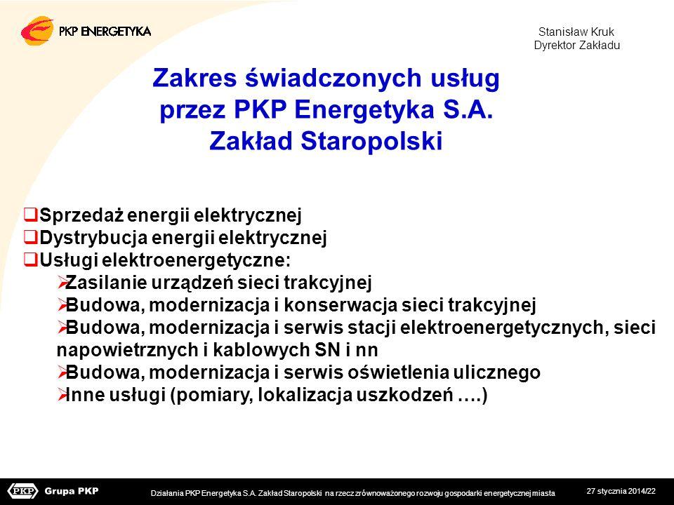 27 stycznia 2014/22 Sprzedaż energii elektrycznej Dystrybucja energii elektrycznej Usługi elektroenergetyczne: Zasilanie urządzeń sieci trakcyjnej Bud