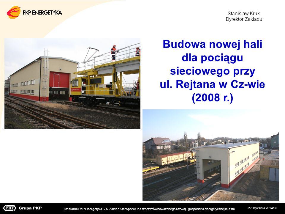 27 stycznia 2014/32 Budowa nowej hali dla pociągu sieciowego przy ul. Rejtana w Cz-wie (2008 r.) Działania PKP Energetyka S.A. Zakład Staropolski na r