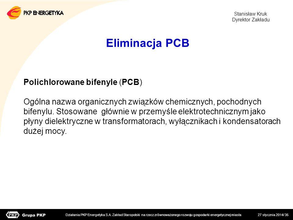 27 stycznia 2014/ 35 Polichlorowane bifenyle (PCB) Ogólna nazwa organicznych związków chemicznych, pochodnych bifenylu. Stosowane głównie w przemyśle