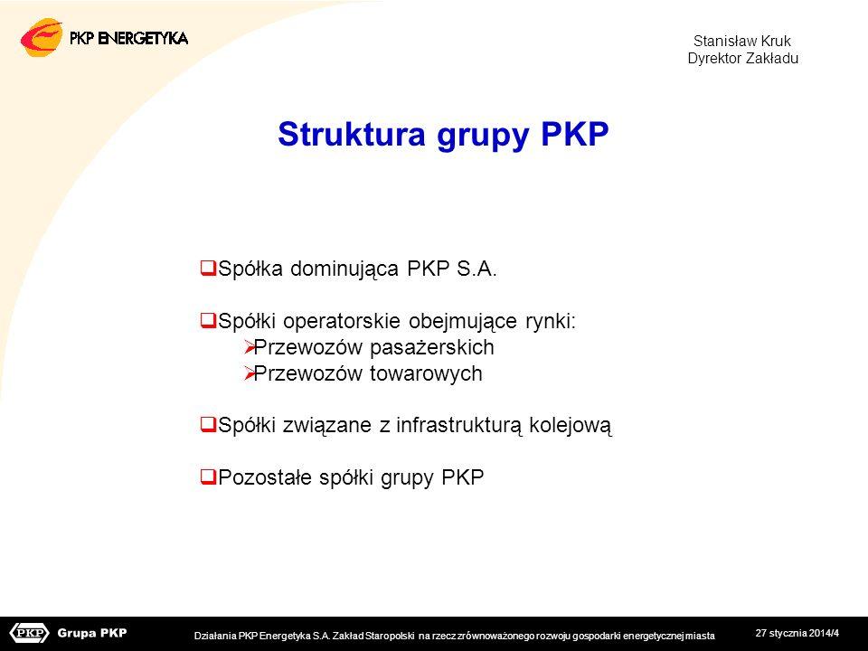 27 stycznia 2014/4 Struktura grupy PKP Spółka dominująca PKP S.A. Spółki operatorskie obejmujące rynki: Przewozów pasażerskich Przewozów towarowych Sp