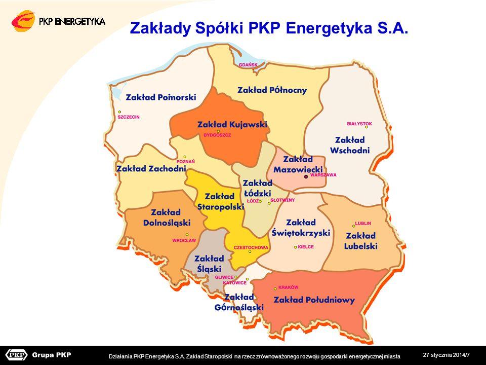 27 stycznia 2014/7 Zakłady Spółki PKP Energetyka S.A. Działania PKP Energetyka S.A. Zakład Staropolski na rzecz zrównoważonego rozwoju gospodarki ener
