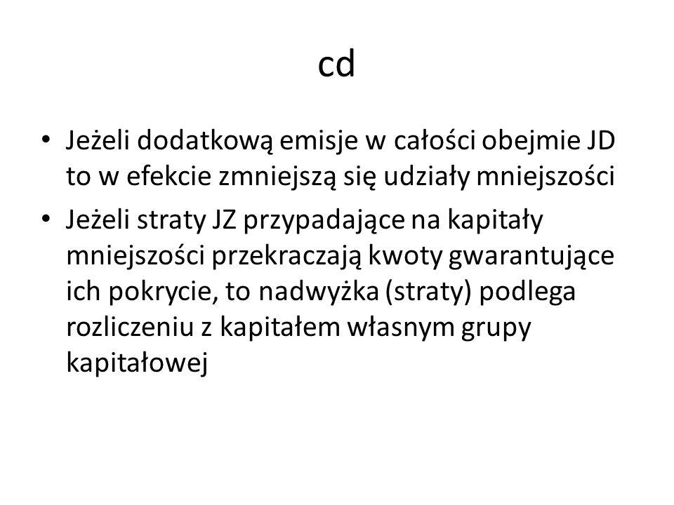 cd Jeżeli dodatkową emisje w całości obejmie JD to w efekcie zmniejszą się udziały mniejszości Jeżeli straty JZ przypadające na kapitały mniejszości p