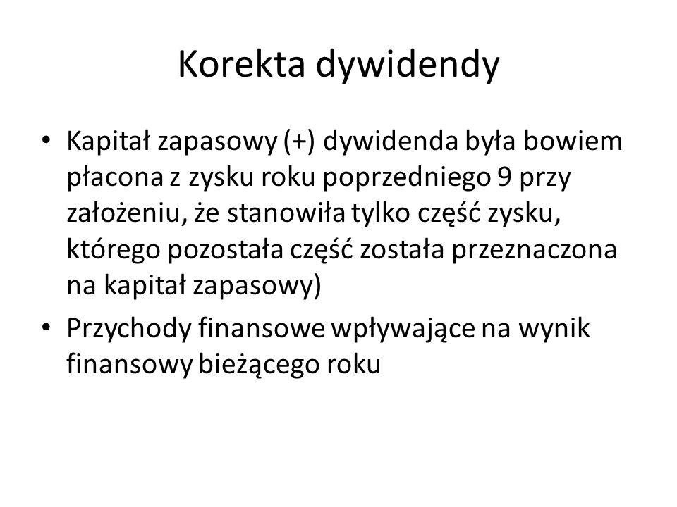 Korekta dywidendy Kapitał zapasowy (+) dywidenda była bowiem płacona z zysku roku poprzedniego 9 przy założeniu, że stanowiła tylko część zysku, które