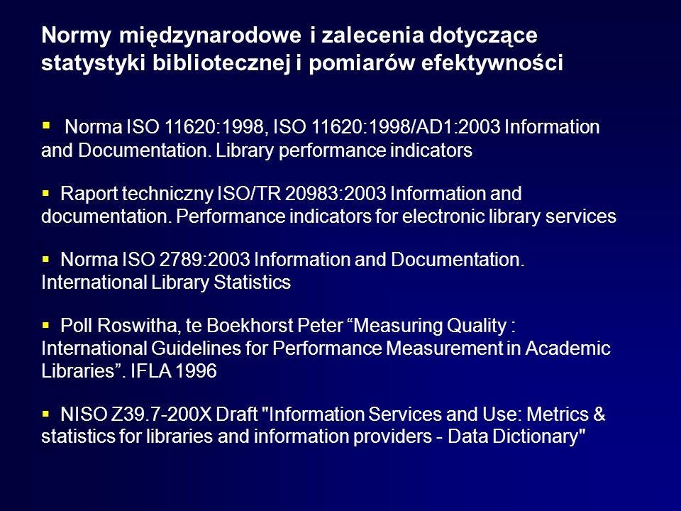 Normy międzynarodowe i zalecenia dotyczące statystyki bibliotecznej i pomiarów efektywności Norma ISO 11620:1998, ISO 11620:1998/AD1:2003 Information