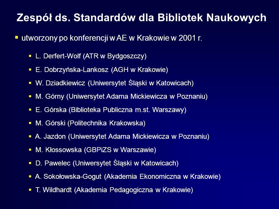 Zespół ds. Standardów dla Bibliotek Naukowych utworzony po konferencji w AE w Krakowie w 2001 r. L. Derfert-Wolf (ATR w Bydgoszczy) E. Dobrzyńska-Lank