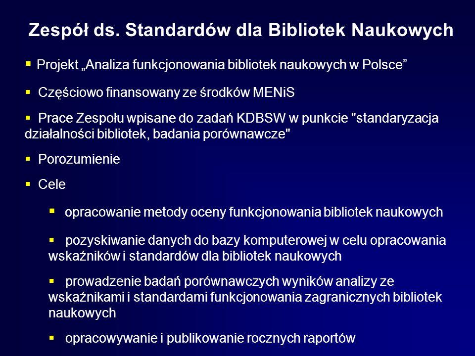 Zespół ds. Standardów dla Bibliotek Naukowych Projekt Analiza funkcjonowania bibliotek naukowych w Polsce Częściowo finansowany ze środków MENiS Prace