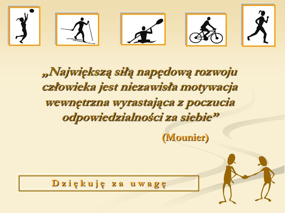 Największą siłą napędową rozwoju człowieka jest niezawisła motywacja wewnętrzna wyrastająca z poczucia odpowiedzialności za siebie (Mounier) D z i ę k