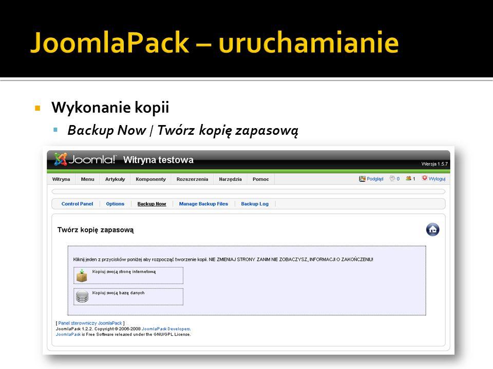 Wykonanie kopii Backup Now / Twórz kopię zapasową