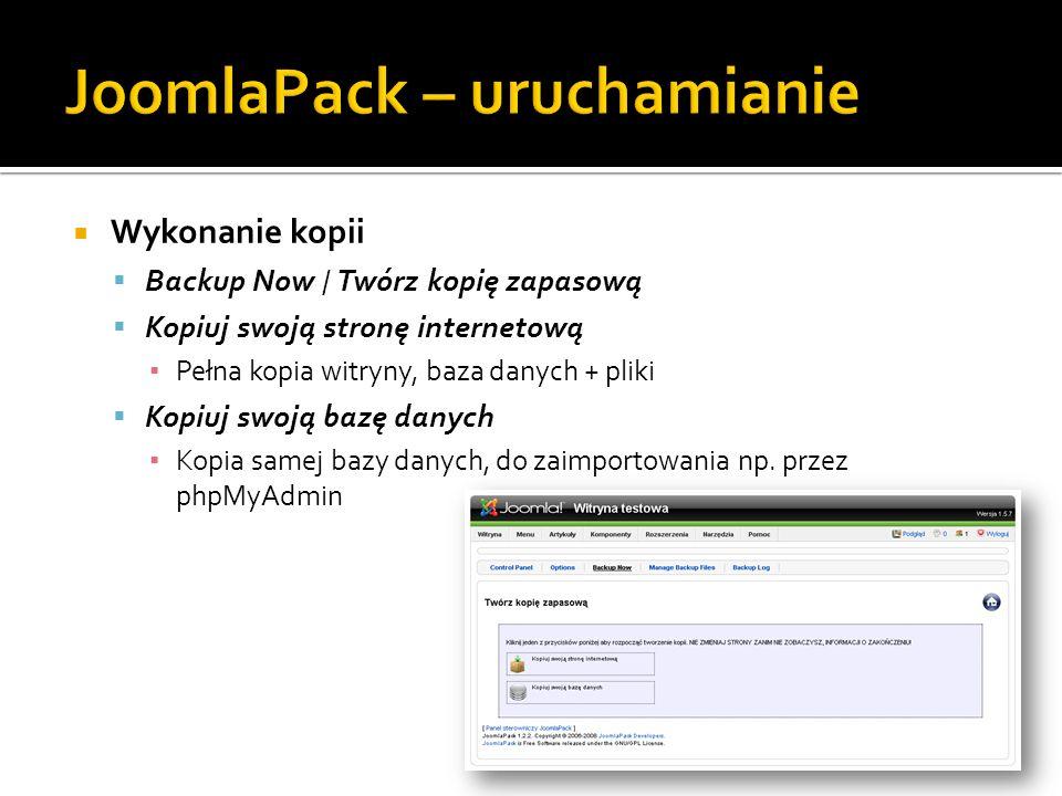 Wykonanie kopii Backup Now / Twórz kopię zapasową Kopiuj swoją stronę internetową Pełna kopia witryny, baza danych + pliki Kopiuj swoją bazę danych Ko