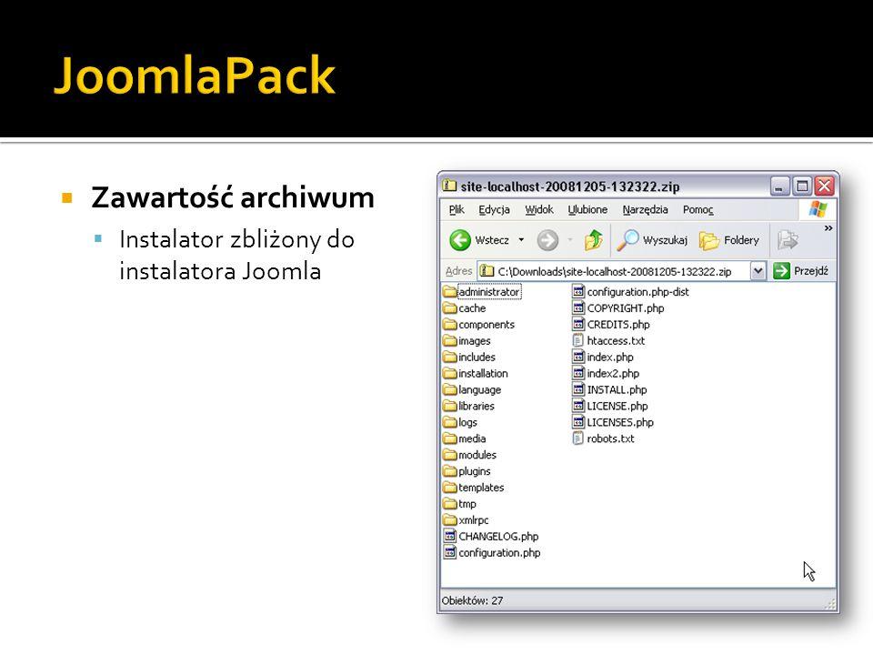 Zawartość archiwum Instalator zbliżony do instalatora Joomla