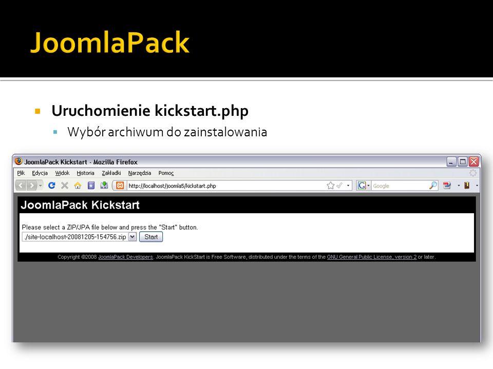 Uruchomienie kickstart.php Wybór archiwum do zainstalowania