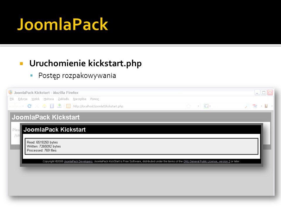 Uruchomienie kickstart.php Postęp rozpakowywania
