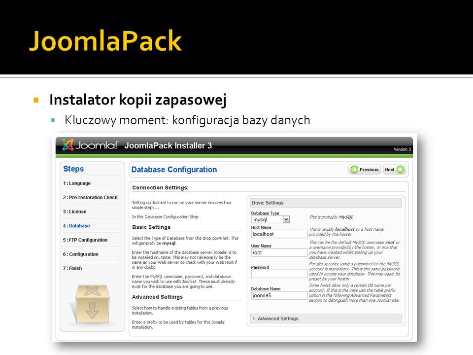 Instalator kopii zapasowej Kluczowy moment: konfiguracja bazy danych