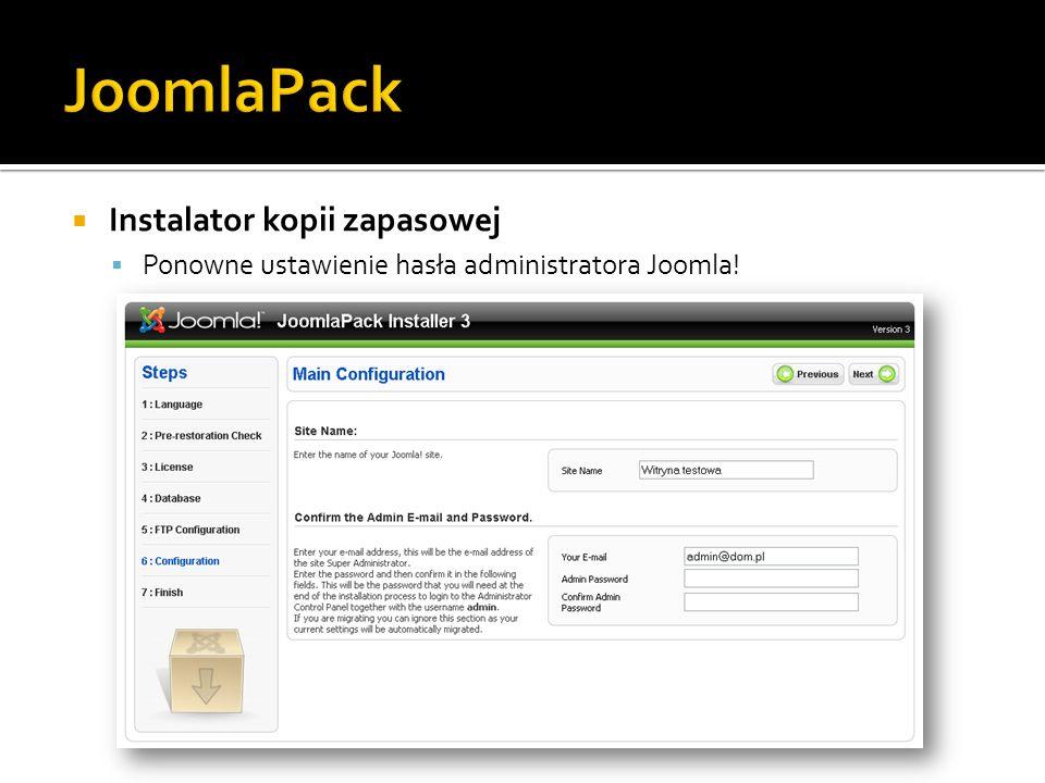 Instalator kopii zapasowej Ponowne ustawienie hasła administratora Joomla!
