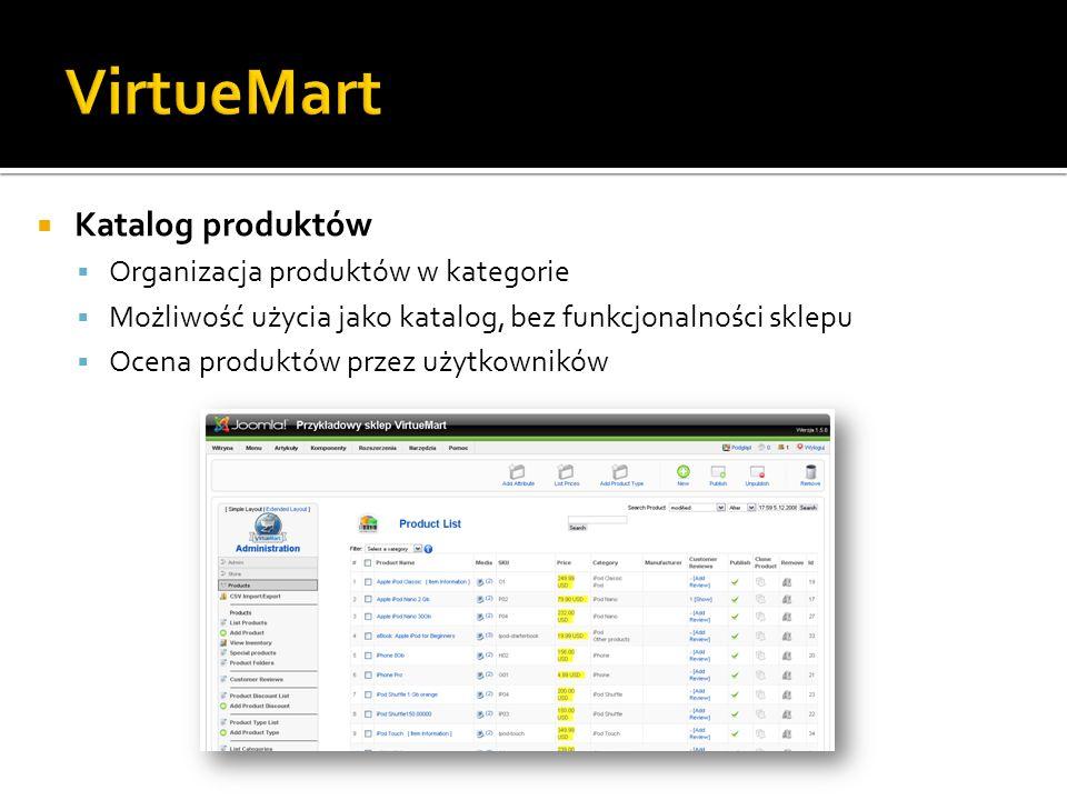 Katalog produktów Organizacja produktów w kategorie Możliwość użycia jako katalog, bez funkcjonalności sklepu Ocena produktów przez użytkowników