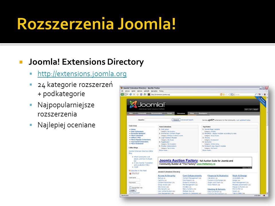 Joomla! Extensions Directory http://extensions.joomla.org 24 kategorie rozszerzeń + podkategorie Najpopularniejsze rozszerzenia Najlepiej oceniane