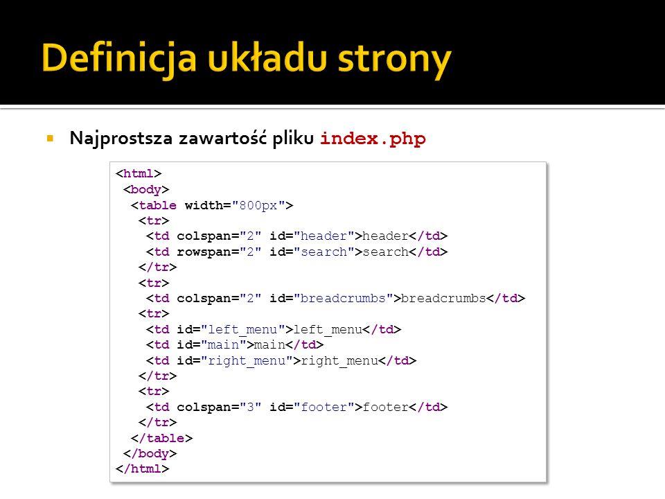 Najprostsza zawartość pliku index.php header search breadcrumbs left_menu main right_menu footer header search breadcrumbs left_menu main right_menu f