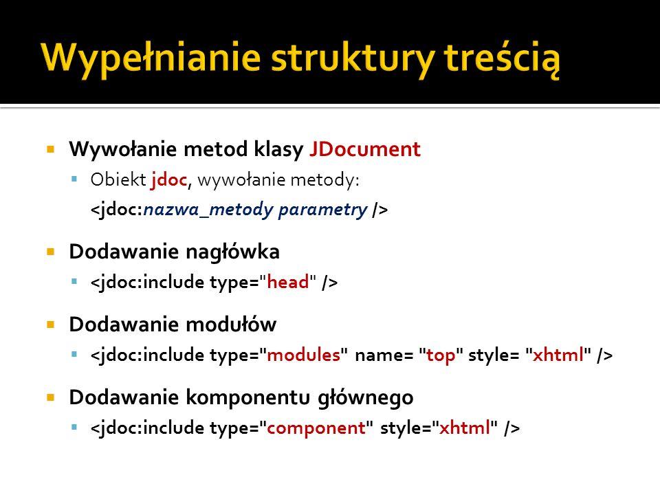 Wywołanie metod klasy JDocument Obiekt jdoc, wywołanie metody: Dodawanie nagłówka Dodawanie modułów Dodawanie komponentu głównego