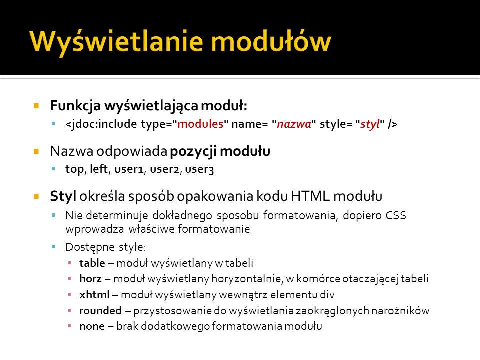 Funkcja wyświetlająca moduł: Nazwa odpowiada pozycji modułu top, left, user1, user2, user3 Styl określa sposób opakowania kodu HTML modułu Nie determi