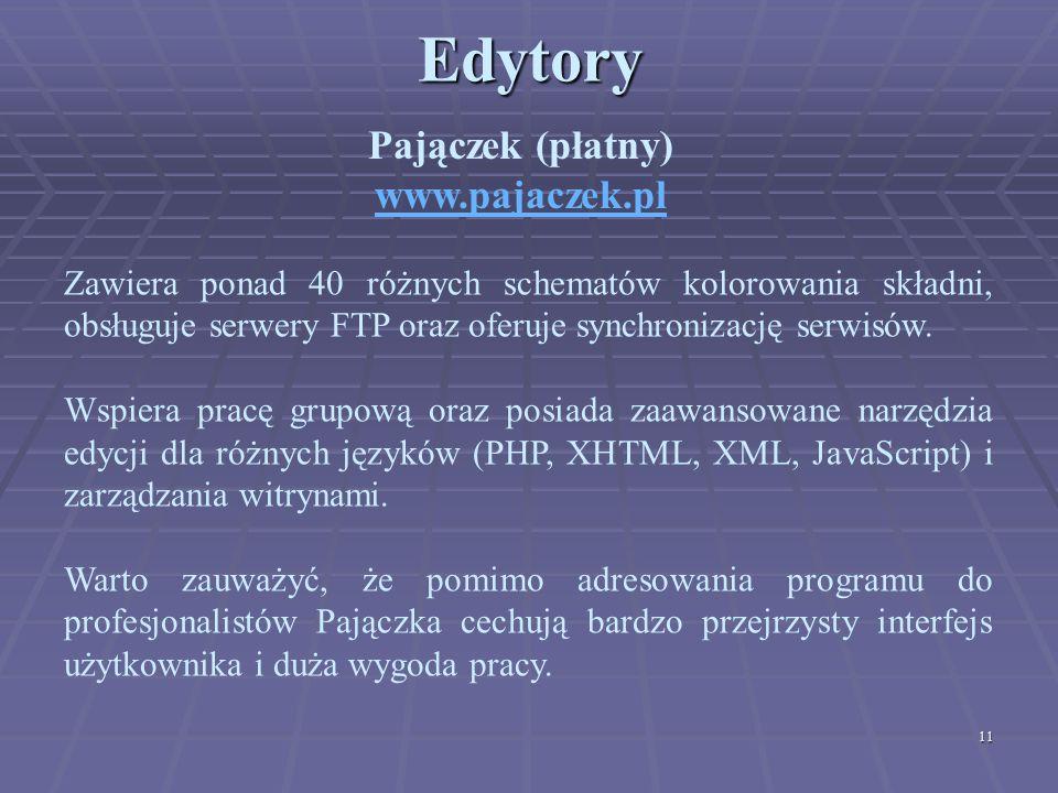 11Edytory Pajączek (płatny) www.pajaczek.pl Zawiera ponad 40 różnych schematów kolorowania składni, obsługuje serwery FTP oraz oferuje synchronizację