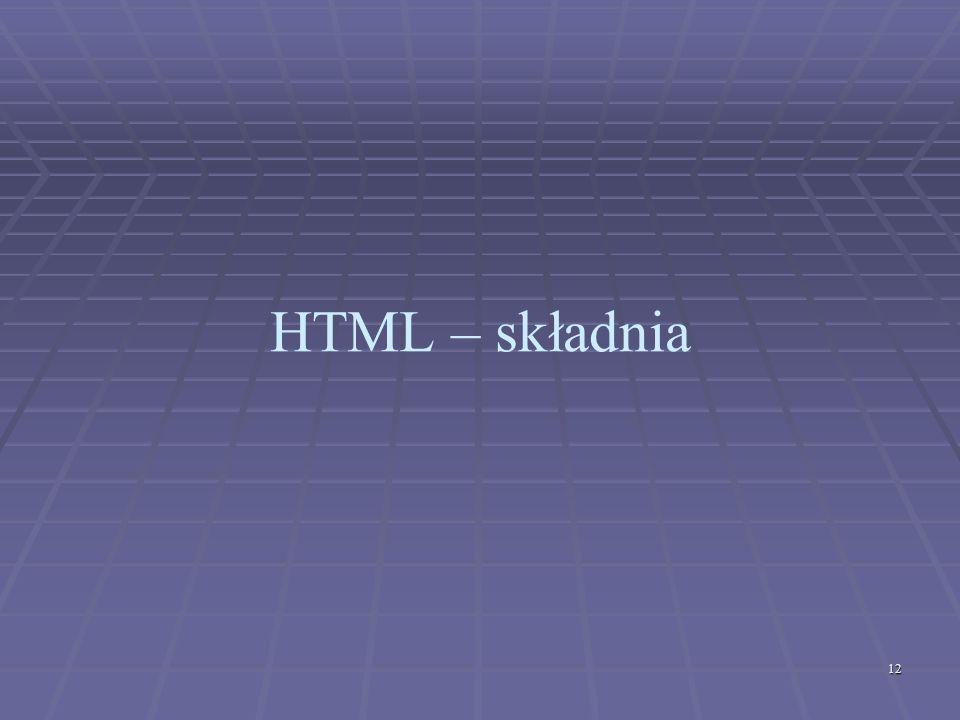 12 HTML – składnia