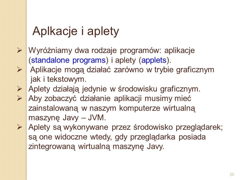 20 Aplkacje i aplety Wyróżniamy dwa rodzaje programów: aplikacje (standalone programs) i aplety (applets). Aplikacje mogą działać zarówno w trybie gra