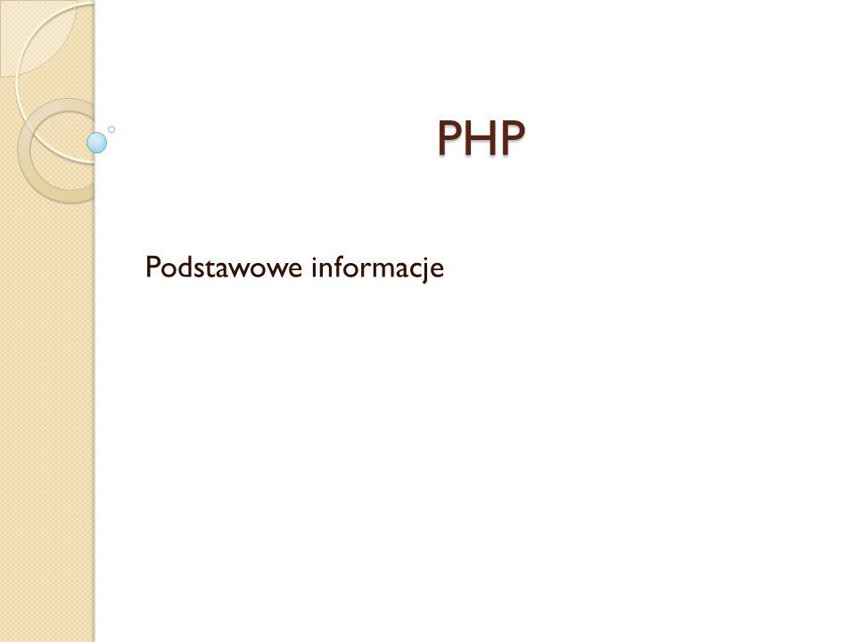 PHP Podstawowe informacje