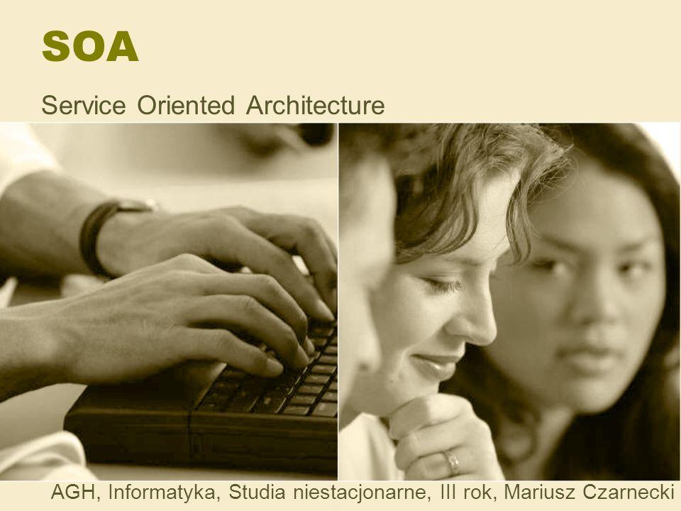 SOA Register Katalog usług Połączenie dla –Środowiska operacyjnego Service broker – połączenie komponentów poprzez reguły związane z każdym z nich –Środowiska programistycznego i analityków biznesowych Wybór i tworzenie aplikacji z komponentów