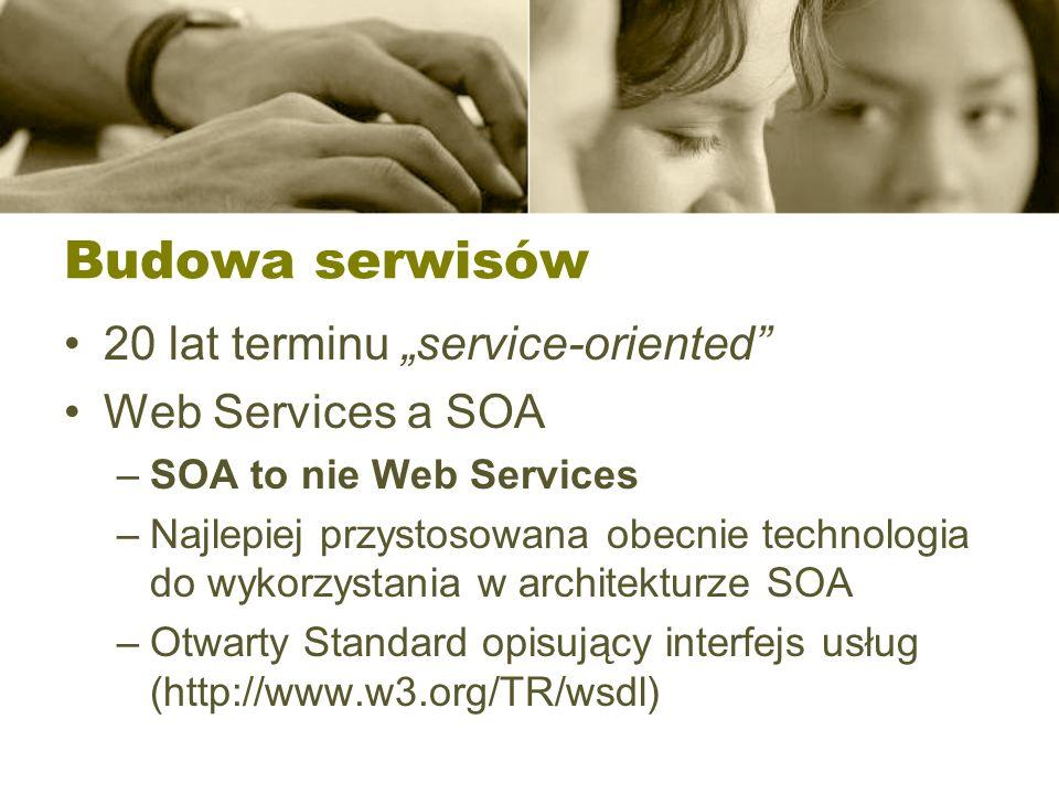 Budowa serwisów 20 lat terminu service-oriented Web Services a SOA –SOA to nie Web Services –Najlepiej przystosowana obecnie technologia do wykorzysta