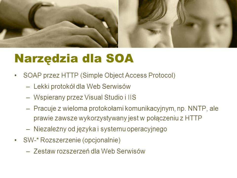 Narzędzia dla SOA SOAP przez HTTP (Simple Object Access Protocol) –Lekki protokół dla Web Serwisów –Wspierany przez Visual Studio i IIS –Pracuje z wie