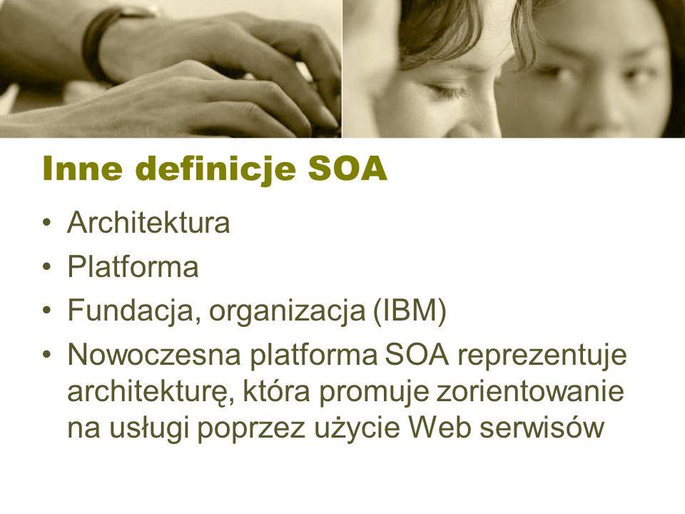 Inne definicje SOA Architektura Platforma Fundacja, organizacja (IBM) Nowoczesna platforma SOA reprezentuje architekturę, która promuje zorientowanie