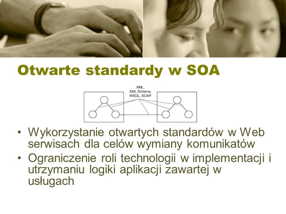 Otwarte standardy w SOA Wykorzystanie otwartych standardów w Web serwisach dla celów wymiany komunikatów Ograniczenie roli technologii w implementacji